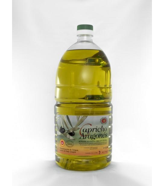 1 caja de 9 botellas de 2l. de aceite de oliva virgen extra D.O. del Bajo Aragón